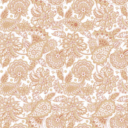 Floral Paisley Pattern. Seamless Asian Textile Background Illustration