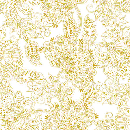 Floral vector illustration in damask style. Flawless ethnic background Illustration