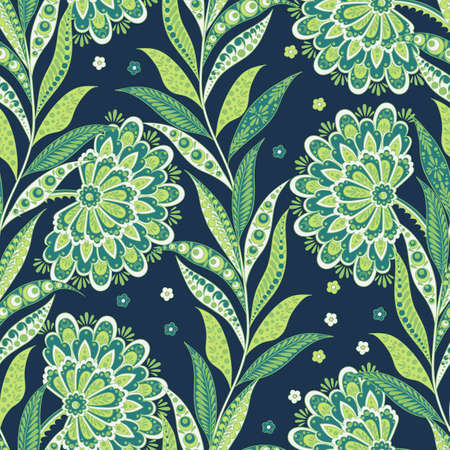 Folkloric Batik vector ornament. Ethnic Floral seamless pattern Illustration