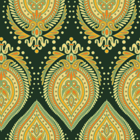flower ornament: paisley style seamless pattern