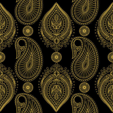 Paisley seamless pattern with Indian ornament. Vector pattern