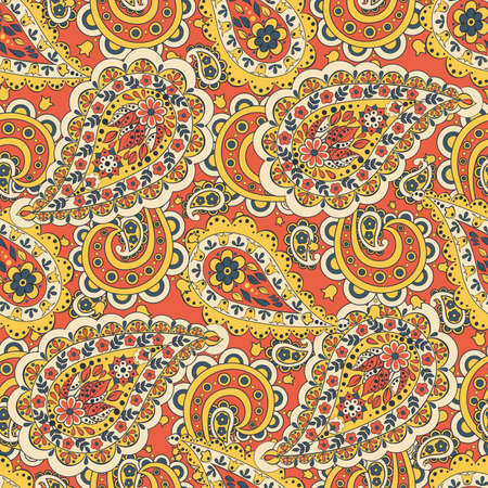 flower ornament: Paisley floral seamless pattern