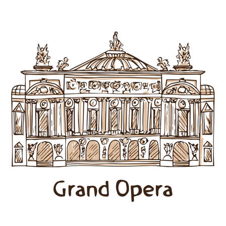 Grand Opera. Hand drawn Paris landmark