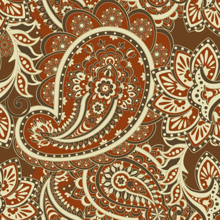 flower ornament: Seamless paisley pattern. Asian style floral vector background