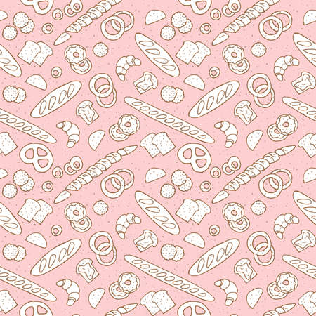 bakery products hand drawn seamless pattern. vector illustration Illustration