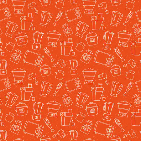 Kitchen appliance seamless pattern. Freehand vector sketches of  consumer electronics