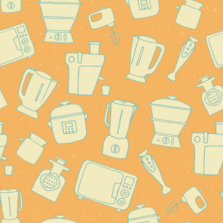 kitchen appliances seamless pattern. vector illustration of hand drawn electric devices Illustration