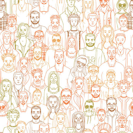 Pattern of hand drawn people faces. Vector illustration of crowd of people Illustration