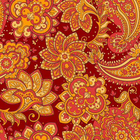 Seamless paisley pattern floral vector background Illustration