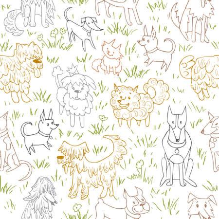 Nettes Hundemuster Nahtlose Vektor-Illustration mit Bulldogge, Bobtail, Dackel, Bullterrier, Dobermann, Spitz, Chihuahua Standard-Bild - 75391392