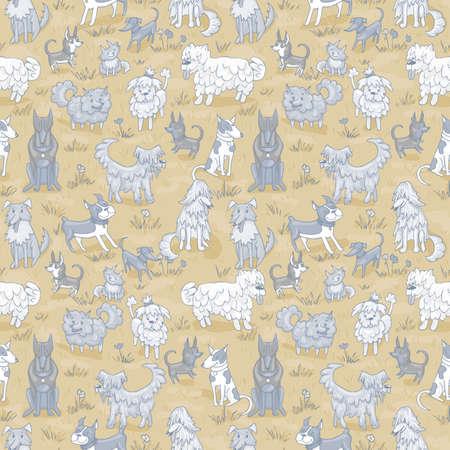 bullterrier: Cute dogs pattern. Seamless vector illustration with bulldog, bobtail, dachshund, bullterrier, doberman, spitz, chihuahua Illustration