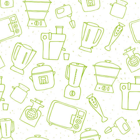 black appliances: various kitchen appliances. hand drawn house appliances doodles seamless pattern