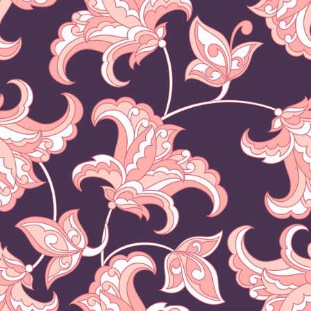 Elegance seamless pattern with ethnic flowers. Vector Floral Illustration Illustration