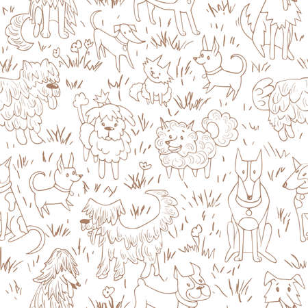 Nettes Hundemuster Nahtlose Vektor-Illustration mit Bulldogge, Bobtail, Dackel, Bullterrier, Dobermann, Spitz, Chihuahua Standard-Bild - 76764490