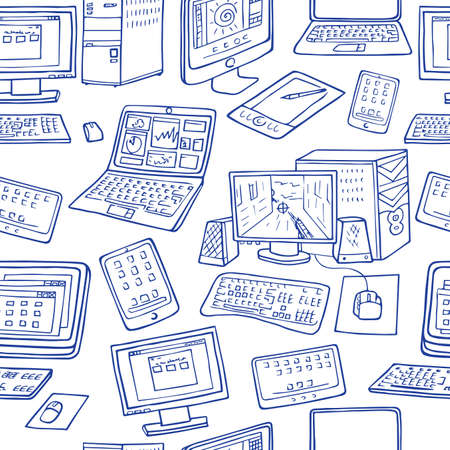 handheld device: A vector seamless pattern of hand drawn doodles of electronic gadgets. Computer, laptop, monitor