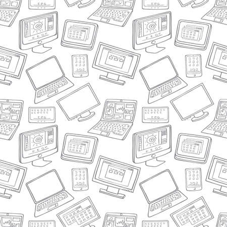 handheld device: Computer, laptop, monitor seamless vector pattern Illustration