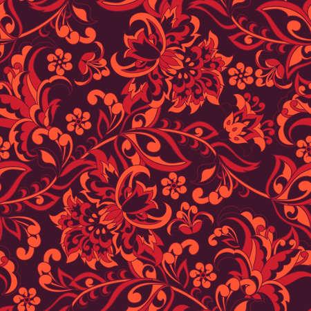 Vintage flowers seamless pattern. Floral vector background Illustration