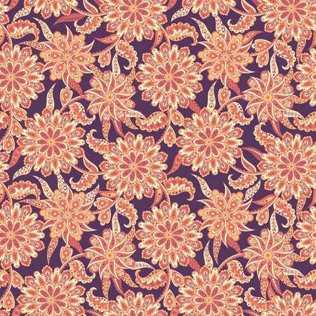 floral seamless pattern in batik style. vector background Illustration