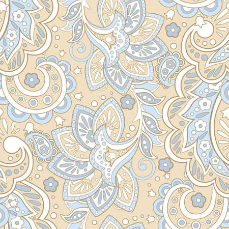 vintage pattern with indian batik style flowers. floral vector background