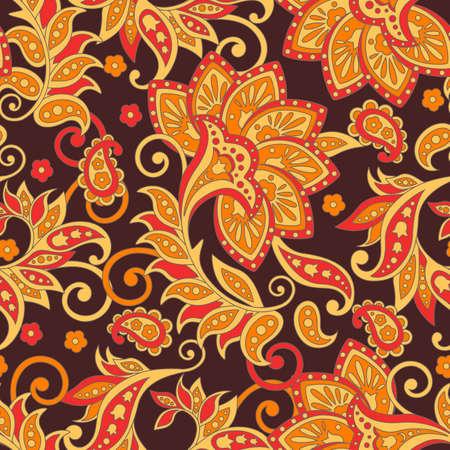 インド風のエスニック花柄シームレス パターン。