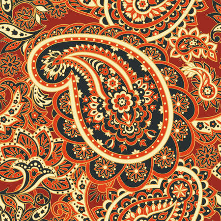 mehendi: Floral seamless pattern with paisley ornament. Vector illustration in Asian textile style