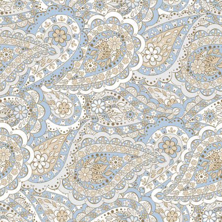 east indian: paisley seamless pattern. Colorful vector background