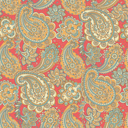 Paisley seamless ornament. Vector illustration in Asian textile style