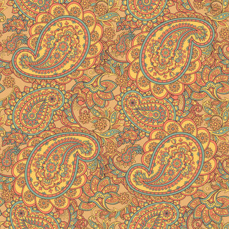 east indian: paisley seamless ornament. Vector illustration in Asian textile style Illustration