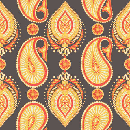 Paisley seamless pattern with Indian ornament. Vector background Illustration