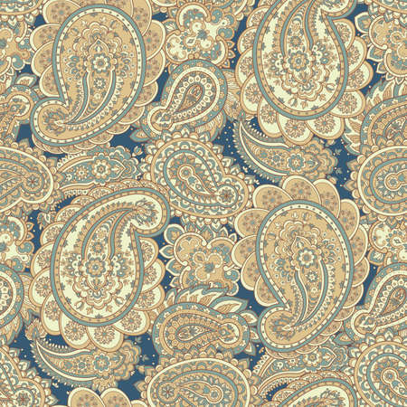 east indian: paisley seamless pattern. asian style vector background Illustration