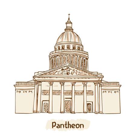 Pariser Wahrzeichen Pantheon Hand gezeichnet Vektor-Illustration