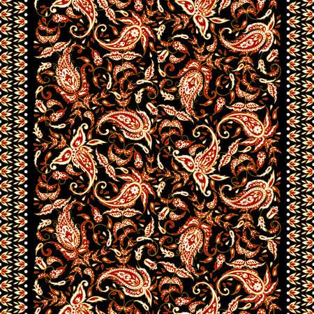 Paisley seamless textile pattern in asian batik style Illustration