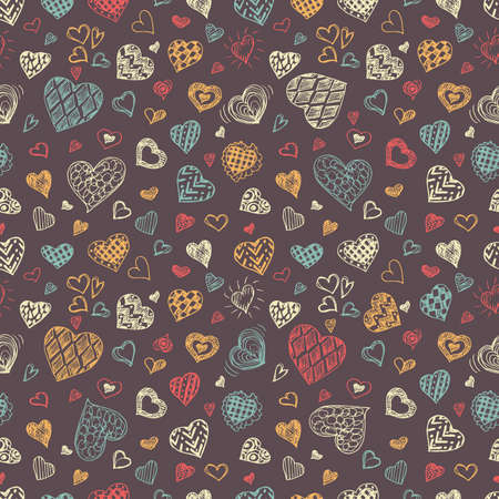 pen and marker: Valentines Day seamless vector pattern. Illustration