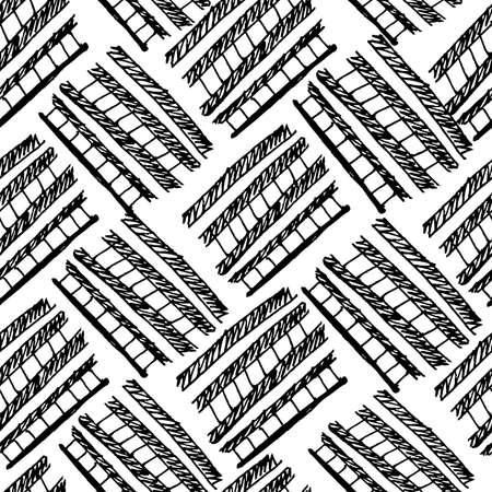 careless: Vector seamless pattern. Hand drawn monochrome background