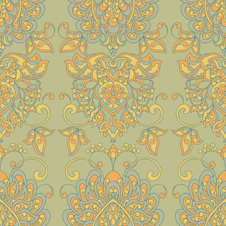 Damask style Vintage seamless Pattern. Colorful vector background