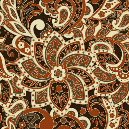 ethnic flowers seamless pattern. floral vector background