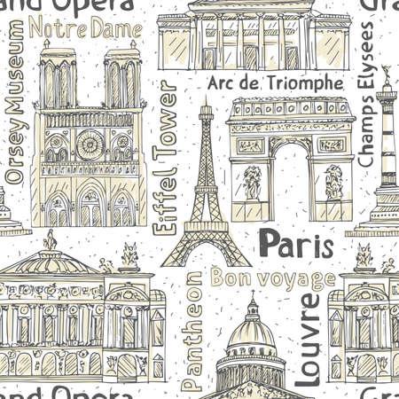 Paris landmarks seamless vector pattern. Hand drawn  Eiffel Tower, Notre de Paris, Arc de Triomphe,  Grand Opera, Pantheon