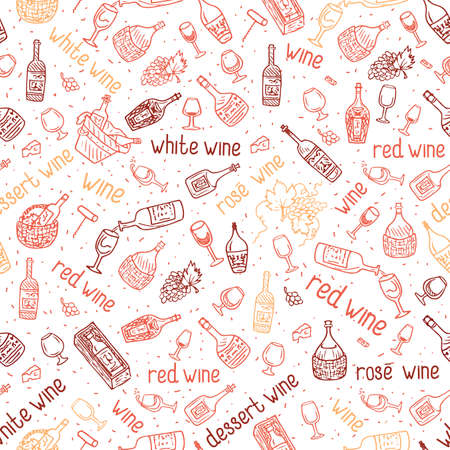 Wine bottle, glass, grape vine vector seamless pattern. Hand drawn drink illustration.