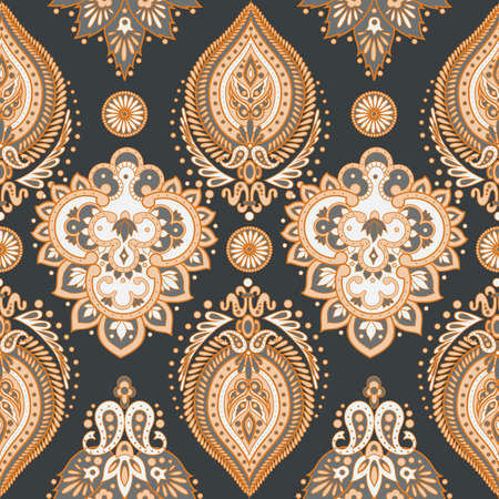 pattern: Damask seamless pattern with flowers in Indian style. Floral vector wallpaper