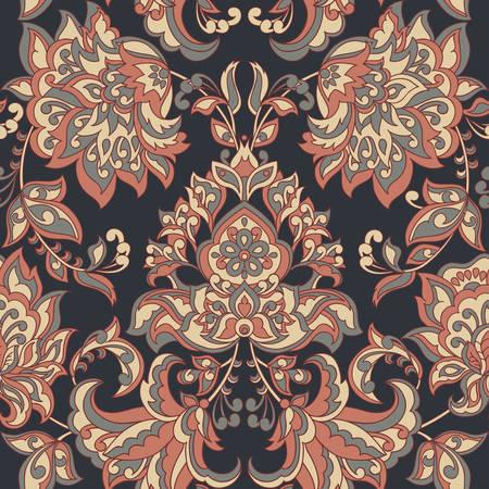 victorian wallpaper: Baroque style floral wallpaper. Seamless vector pattern Illustration