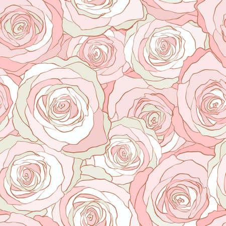 シームレス パターンのバラ、ベクトル花のイラスト。自然の背景  イラスト・ベクター素材