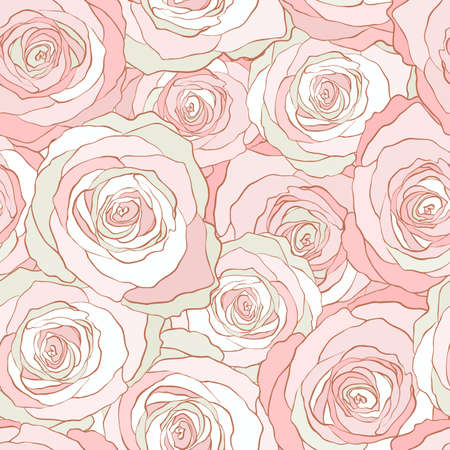 Seamless pattern roses, vector floral illustration. Nature background