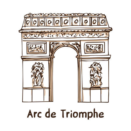 Arc de Triomphe. Hand drawn vector illustration of Paris landmark