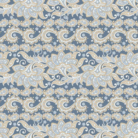 Paisley Floral ethnic seamless Pattern.Ornamental motifs of the Indian fabric patterns.