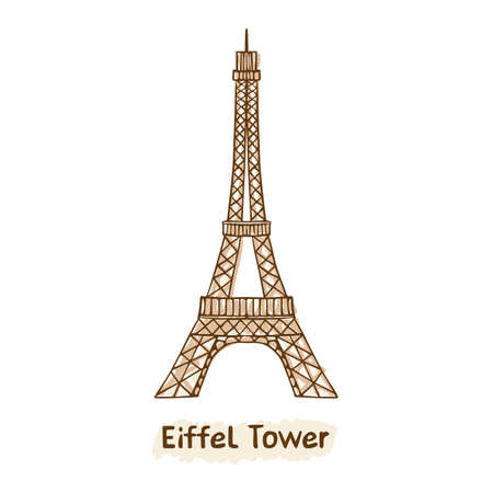 Hand drawn  Eiffel Tower.Vector  Paris landmark Illustration