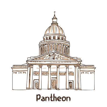 Paris landmark. Pantheon hand drawn vector illustration Illustration
