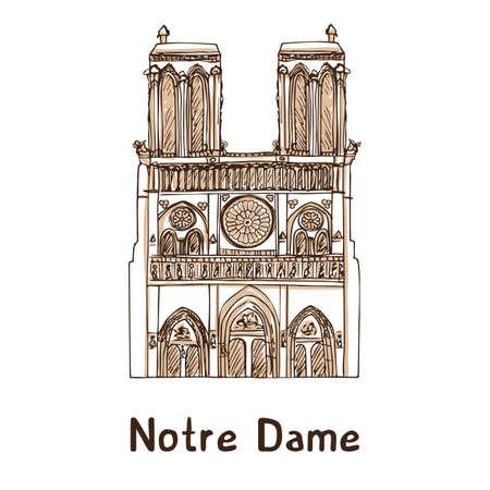 Notre de Paris hand getrokken vectorillustratie. Parijs landmark