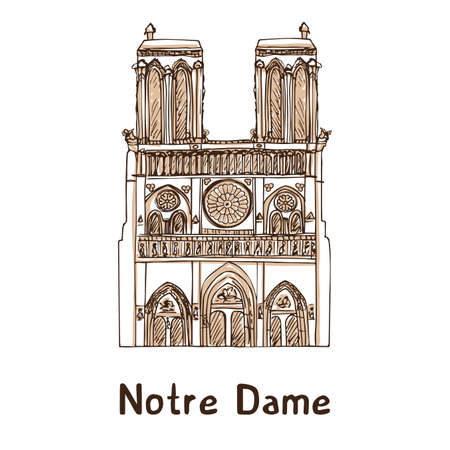 Notre de Paris hand drawn vector illustration. Paris landmark Illustration