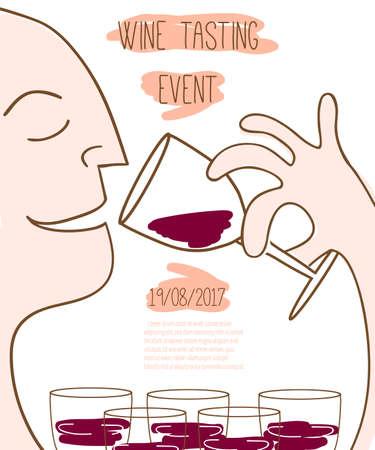 Wijnproeverij evenement sjabloon. Vector illustratie