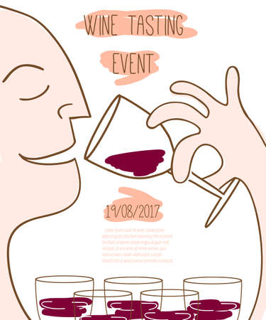 Wine tasting event template. Vector illustration Иллюстрация
